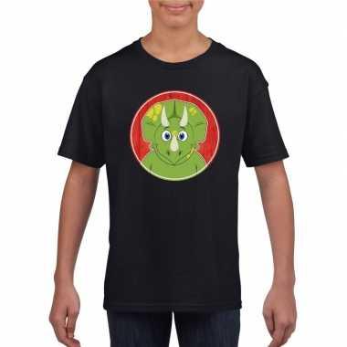 Goedkope dieren dinosourus shirt zwart jongens en meisjes