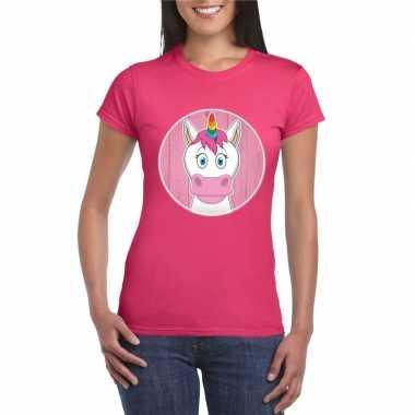 Goedkope dieren eenhoorn shirt roze dames
