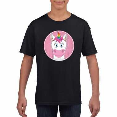 Goedkope dieren eenhoorn shirt zwart jongens en meisjes