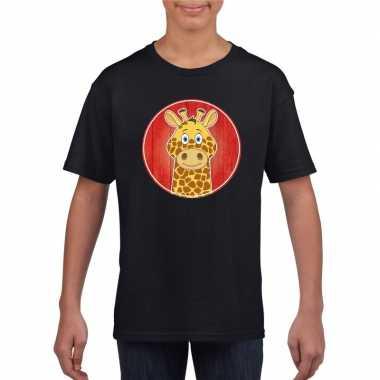 Goedkope dieren giraffe shirt zwart jongens en meisjes