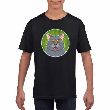 Goedkope dieren grijze kat shirt zwart jongens en meisjes