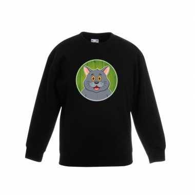 Goedkope dieren grijze kat trui zwart jongens en meisjes