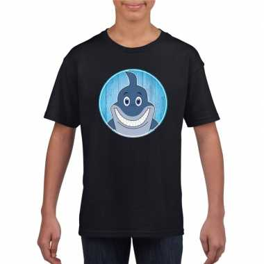 Goedkope dieren haai shirt zwart jongens en meisjes