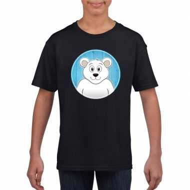 Goedkope dieren ijsbeer shirt zwart jongens en meisjes