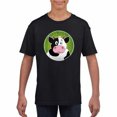 Goedkope dieren koe shirt zwart jongens en meisjes