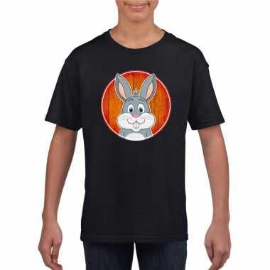Goedkope dieren konijn shirt zwart jongens en meisjes