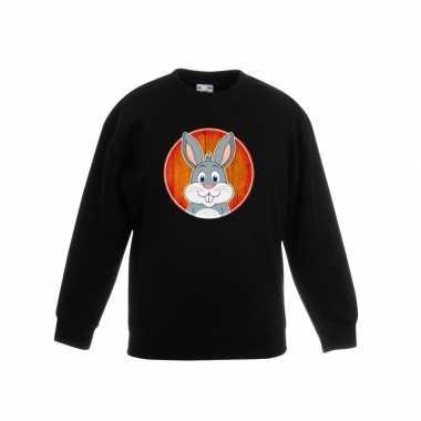 Goedkope dieren konijn trui zwart jongens en meisjes