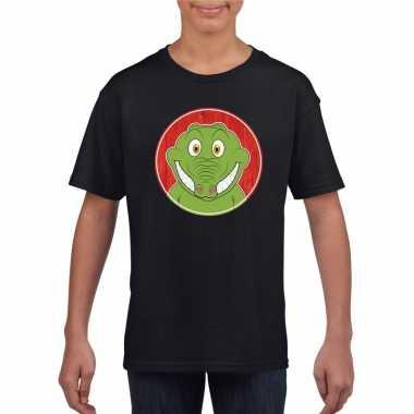Goedkope dieren krokodil shirt zwart jongens en meisjes
