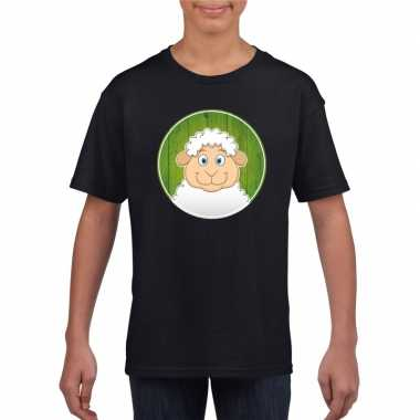 Goedkope dieren lammetje shirt zwart jongens en meisjes