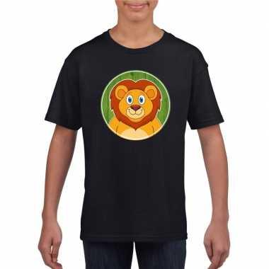 Goedkope dieren leeuw shirt zwart jongens en meisjes