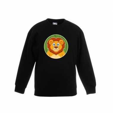 Goedkope dieren leeuw trui zwart jongens en meisjes