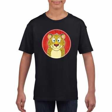 Goedkope dieren luipaard shirt zwart jongens en meisjes
