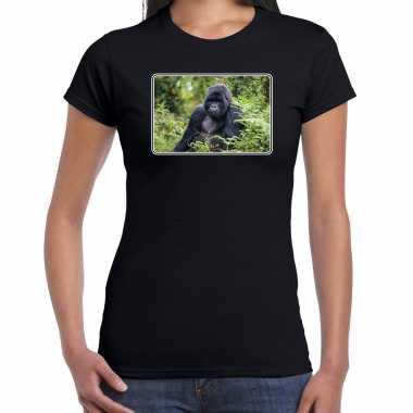 Goedkope dieren t shirt met apen foto zwart voor dames gorilla aap cadeau shirt