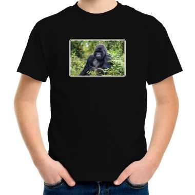 Goedkope dieren t shirt met apen foto zwart voor kinderen gorilla aap cadeau shirt