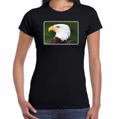 Goedkope dieren t shirt met arenden foto zwart voor dames zeearend vogel cadeau shirt