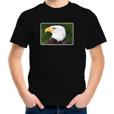 Goedkope dieren t shirt met arenden foto zwart voor kinderen zeearend vogel cadeau shirt