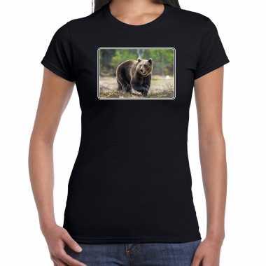 Goedkope dieren t shirt met beren foto zwart voor dames beer cadeau shirt