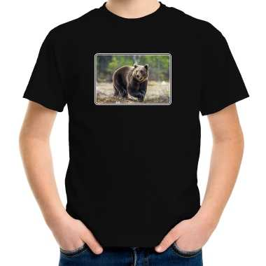 Goedkope dieren t shirt met beren foto zwart voor kinderen beer cadeau shirt