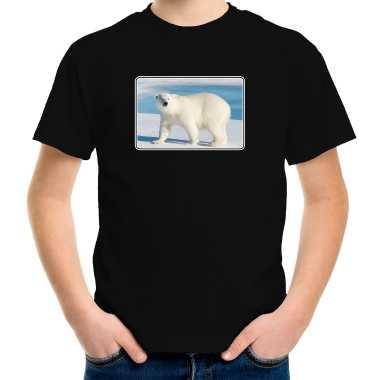 Goedkope dieren t shirt met ijsberen foto zwart voor kinderen ijsbeer cadeau shirt