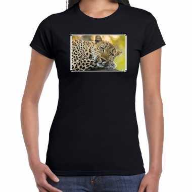Goedkope dieren t shirt met jaguars foto zwart voor dames jaguar cadeau shirt