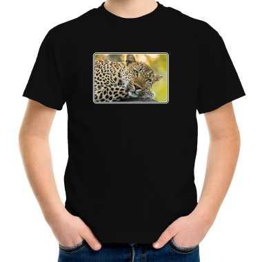 Goedkope dieren t shirt met jaguars foto zwart voor kinderen jaguar cadeau shirt