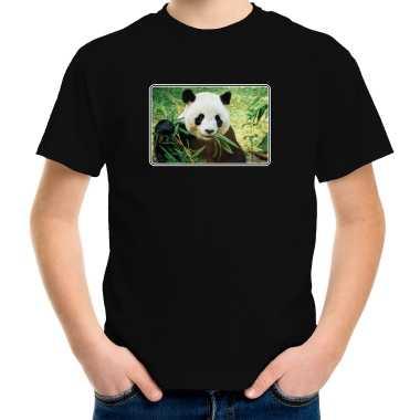 Goedkope dieren t shirt met pandaberen foto zwart voor kinderen panda cadeau shirt