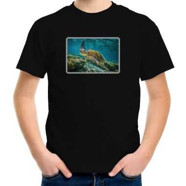 Goedkope dieren t shirt met schildpadden foto zwart voor kinderen szeechildpad cadeau shirt