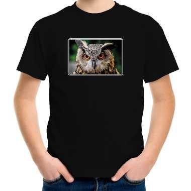 Goedkope dieren t shirt met uilen foto zwart voor kinderen uil cadeau shirt