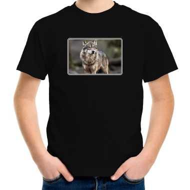 Goedkope dieren t shirt met wolven foto zwart voor kinderen wolf cadeau shirt