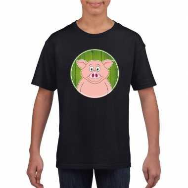 Goedkope dieren varken shirt zwart jongens en meisjes