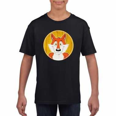 Goedkope dieren vos shirt zwart jongens en meisjes