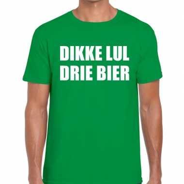 Goedkope dikke lul drie bier fun t shirt groen voor heren