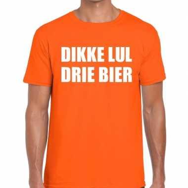 Goedkope dikke lul drie bier fun t shirt oranje voor heren