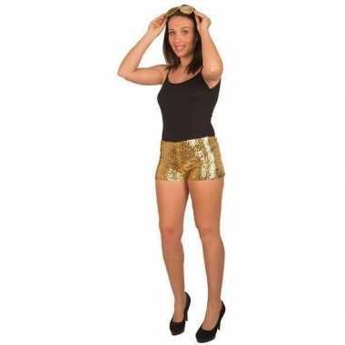 Goedkope disco broekje met gouden pailletten voor dames