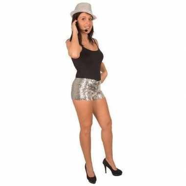 Goedkope disco broekje met zilveren pailletten voor dames