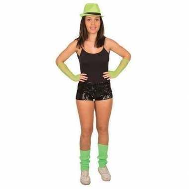 Goedkope disco broekje met zwarte pailletten voor dames