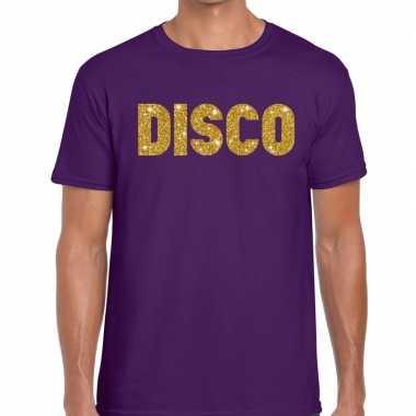 Goedkope disco fun tekst t shirt paars voor heren