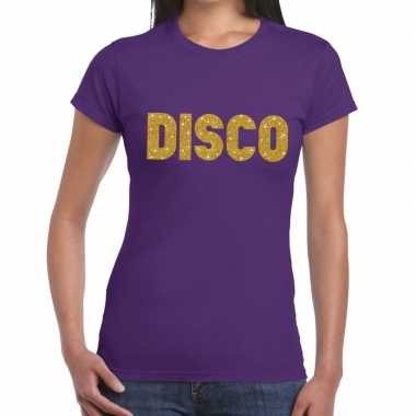 Goedkope disco goud fun t shirt paars voor dames