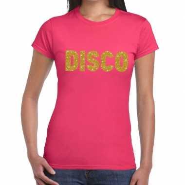 Goedkope disco goud fun t shirt roze voor dames