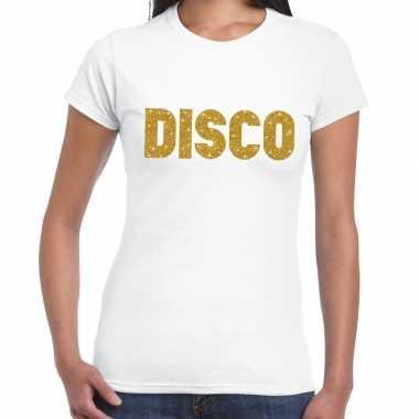 Goedkope disco goud fun t shirt wit voor dames
