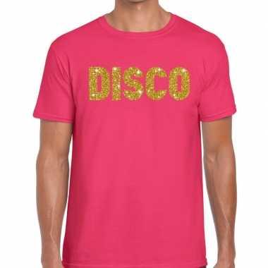 Goedkope disco goud glitter tekst fun t shirt roze voor heren