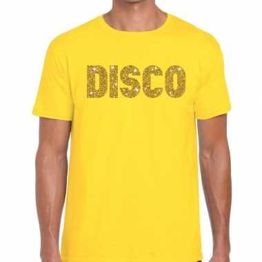 Goedkope disco goud letters fun t shirt geel voor heren