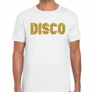 Goedkope disco goud letters fun t shirt wit voor heren