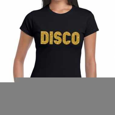 Goedkope disco gouden letters fun t shirt zwart voor dames