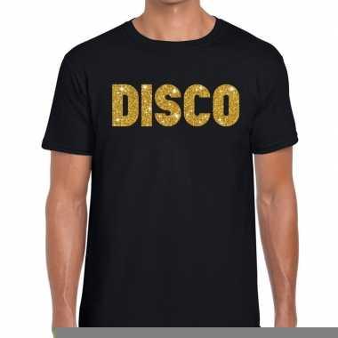 Goedkope disco gouden letters fun t shirt zwart voor heren