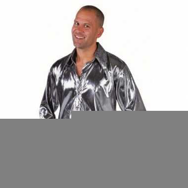 Goedkope disco zilveren overhemd voor heren