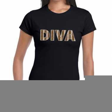 Goedkope diva slangen print fun t shirt zwart voor dames
