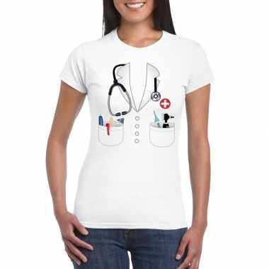 Goedkope dokters verkleedkleren t shirt wit voor dames