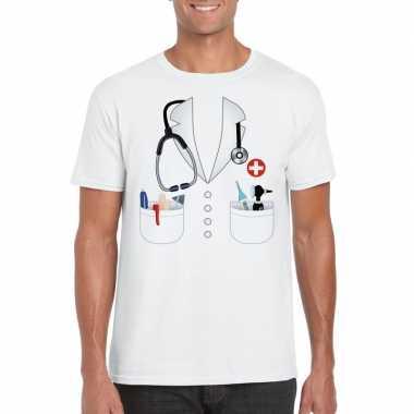 Goedkope dokters verkleedkleren t shirt wit voor heren