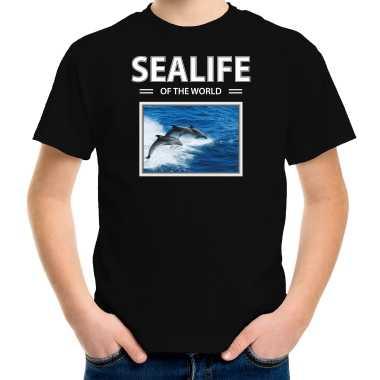 Goedkope dolfijn foto t shirt zwart voor kinderen sealife of the world cadeau shirt dolfijnen liefhebber